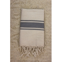 Fouta plate lin rayures grises 1x2m