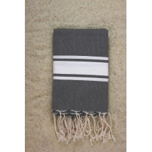 Fouta plate gris anthracite rayures blanches 1x2m