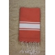Fouta plate orange sanguine rayures blanches (1x2m)