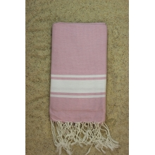 Fouta plate rose dragée rayures blanches (1x2m)