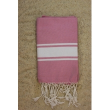 Fouta plate rose bonbon rayures blanches (1x2m)