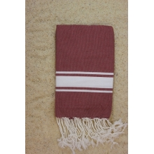 "Fouta plate rouge ""cassis"" rayures blanches (1x2m)"