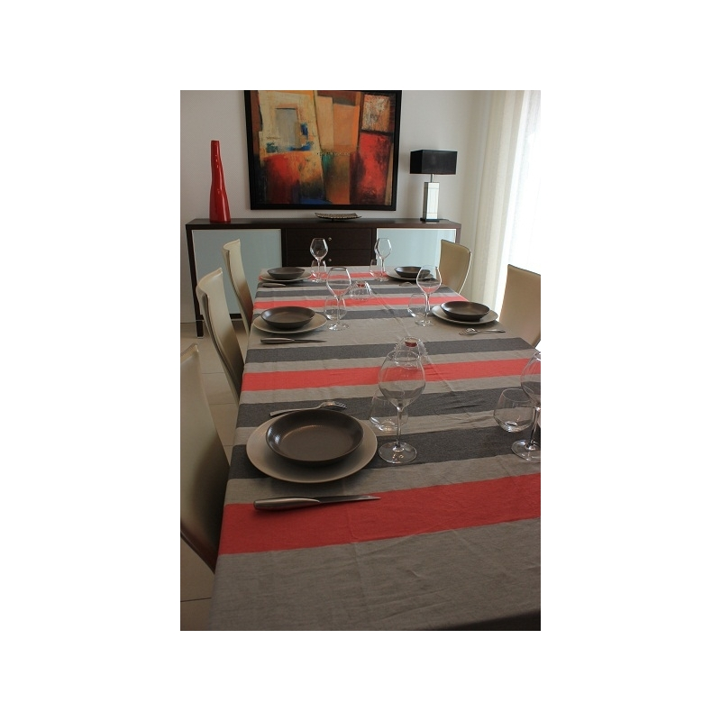 nappe rectangulaire fouta gris clair rayures gris et framboise 2x3m. Black Bedroom Furniture Sets. Home Design Ideas