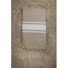 Fouta plate beige sable rayures blanches (1x2m)