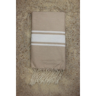 Fouta plate beige sable rayures blanches 1x2m