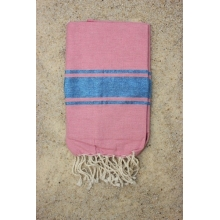 Fouta plate authentique rose bonbon rayures lurex bleu piscine (1x2m)