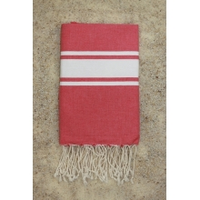 Fouta plate rose miami rayures blanches (1x2m)