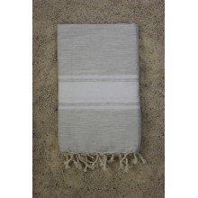 Fouta plate lin rayures blanches (1x2m)