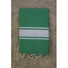 "Fouta plate vert ""Vacances"" rayures blanches (1x2m)"