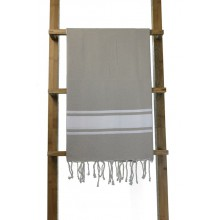 Fouta plate beige grège rayures blanches