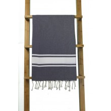 Fouta plate bleu infini rayures blanches