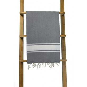 Fouta plate gris foncé rayures blanches