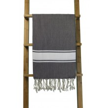 Fouta plate brun rayures blanches