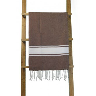 Fouta plate marron rayures blanches