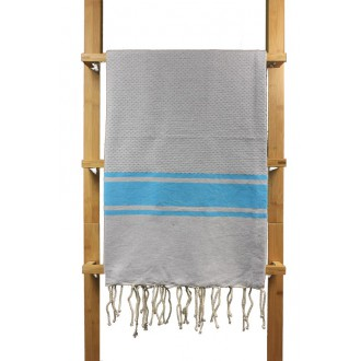 Fouta nid d'abeille Costa gris clair rayures turquoise