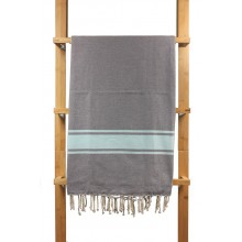 Fouta plate bicolore gris rayures turquoise