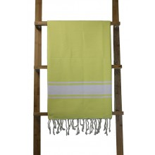 Fouta plate jaune fluo rayures blanches (1x2m)