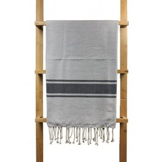 Fouta plate gris claire rayures gris anthracite 1x2m