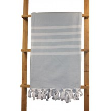 Fouta éponge grise rayures blanches 1x1,80m