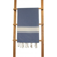 "Fouta plate bleu ""jean"" rayures blanches"