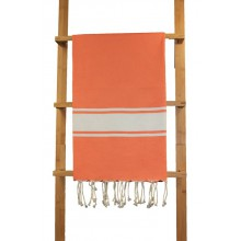 Fouta plate orange rayures blanches 1x2m