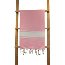 Fouta plate rose pâle rayures blanches