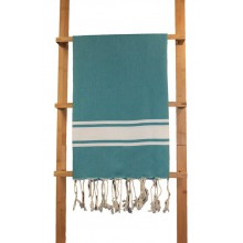 "Fouta plate vert ""sapin"" rayures blanches (1x2m)"
