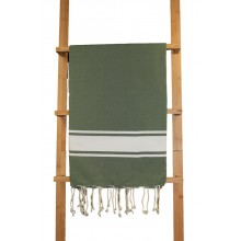 "Fouta plate vert ""bouteille"" rayures blanches"