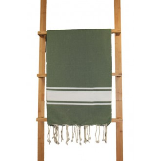 Fouta plate Vert Bouteille rayures blanches