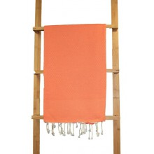 Fouta nid d'abeille unie orange