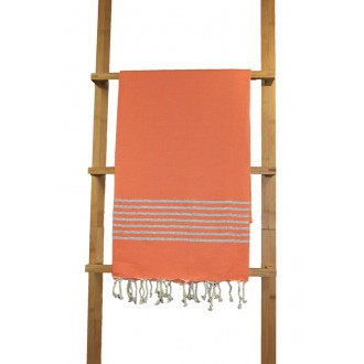 Fouta plate orange rayures lurex argent