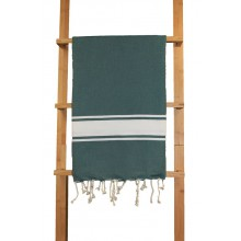 "Fouta plate vert ""forêt"" rayures blanches"