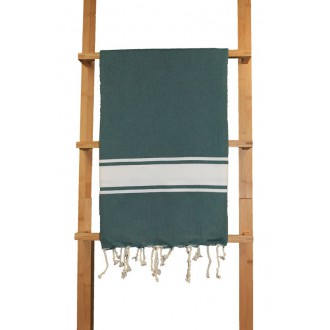 """Fouta plate vert """"forêt"""" rayures blanches"""
