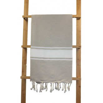 Fouta plate beige rayures blanches