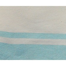 Fouta plate blanc rayures turquoise 1x2m