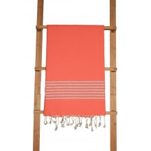 Fouta plate orange sanguine rayures lurex argenté