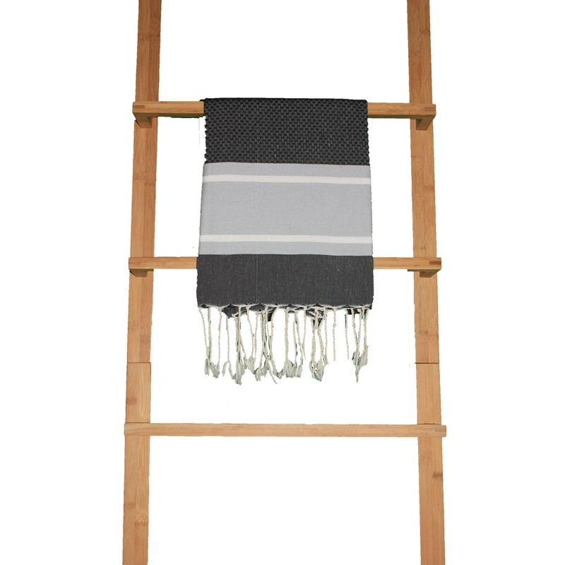 fouta nid d 39 abeille eva fond noir rayures gris bleut et. Black Bedroom Furniture Sets. Home Design Ideas