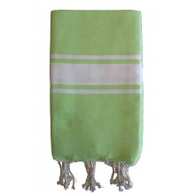 Fouta plate vert anis rayures blanches (1x2m)