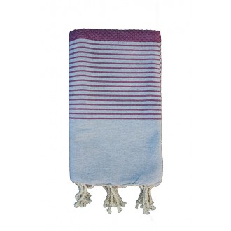 Fouta nid d'abeille grise rayures violette