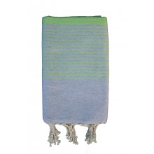 Fouta nid d'abeille grise rayure wasabi