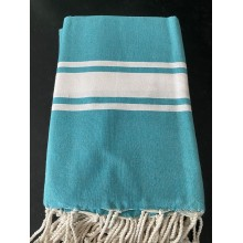 Fouta plate bleu turquoise rayures blanches (1x2m)